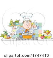 Happy Male Chef Making Soup by Alex Bannykh
