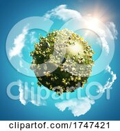 Poster, Art Print Of 3d Tropical Background With Globe Of Buttercups And Daisies On Blue Sky With Circling Clouds