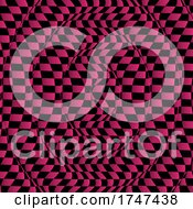 Distorted Checkered Background In Pink And Black