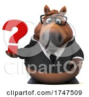 Poster, Art Print Of 3d Chubby Brown Horse On A White Background