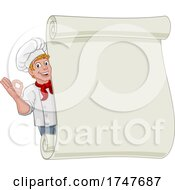 Poster, Art Print Of Chef Cook Baker Cartoon Man Menu Sign Background