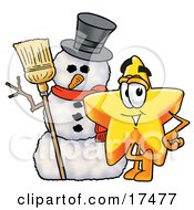 Star Mascot Cartoon Character With A Snowman On Christmas