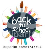 Poster, Art Print Of Back To School Design With Colored Pencils And A Paintbrush