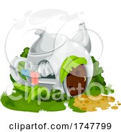 Cute Teapot House With A Laundry Line by Vector Tradition SM