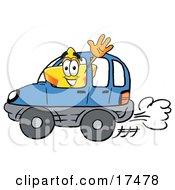 Star Mascot Cartoon Character Driving A Blue Car And Waving
