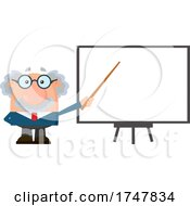 Science Professor Albert Einstein Character Holding A Pointer Stick To A White Board