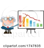 Science Professor Albert Einstein Character Holding A Pointer Stick To A Declining Bar Graph