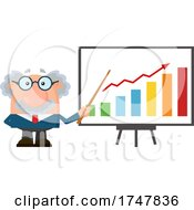 Science Professor Albert Einstein Character Holding A Pointer Stick To A Growth Bar Graph