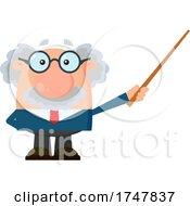 Science Professor Albert Einstein Character Holding A Pointer Stick