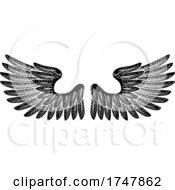 Pair Of Wings Vintage Engraved Retro Style