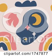 Poster, Art Print Of Bird Moon Stars Sun Cloud And Rainbow Pattern