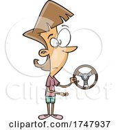 Cartoon Woman Holding A Wheel And Offering For Someone To Take It
