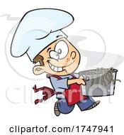 Cartoon Boy Chef Carrying A Pasta Pot