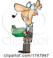 Cartoon Senior Man Singing Hymns