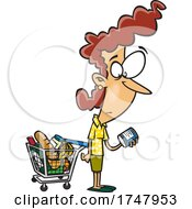 Cartoon Woman Shopping And Reading Food Nutrition Labels