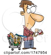 Cartoon Man Grocery Shopping And Reading Nutrition Labels