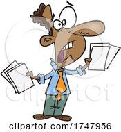 Cartoon Stressed Businessman Holding Paperwork