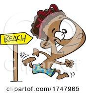 Cartoon Boy Running To The Beach