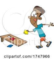 Cartoon Boy Playing Cornhole
