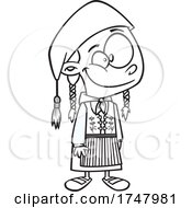 Black And White Cartoon Iceland Girl