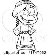 Black And White Cartoon Israeli Girl