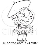 Black And White Cartoon French Boy