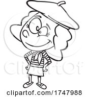 Black And White Cartoon French Girl