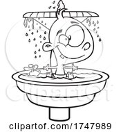 Black And White Cartoon Fountain Of Youth Baby