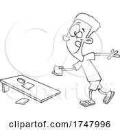 Black And White Cartoon Boy Playing Cornhole