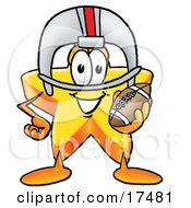 Clipart Picture Of A Star Mascot Cartoon Character In A Helmet Holding A Football by Toons4Biz