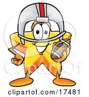 Star Mascot Cartoon Character In A Helmet Holding A Football