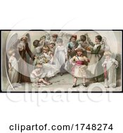 Poster, Art Print Of Father Time With Children Representing Holidays