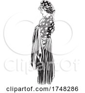 Grieving American Woman Draped In Stars And Stripes