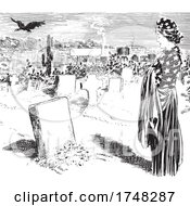 Grieving American Woman In A Cemetery