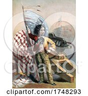 Patriotic American Boy With A Flag And Canon