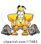 Clipart Picture Of A Star Mascot Cartoon Character Lifting A Heavy Barbell