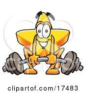 Star Mascot Cartoon Character Lifting A Heavy Barbell
