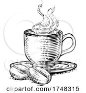 Coffee Beans And Cup Vintage Woodcut Illustration
