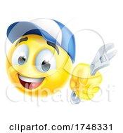 Poster, Art Print Of Mechanic Or Plumber Spanner Emoticon Emoji Icon