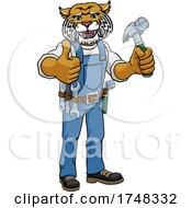 Wildcat Mascot Carpenter Handyman Holding Hammer by AtStockIllustration