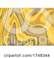 Abstract Liquid Marble Background With Gold Glitter