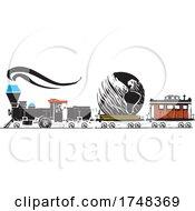 Poster, Art Print Of Woodcut Style Earth Locomotive