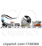 Woodcut Style Earth Locomotive