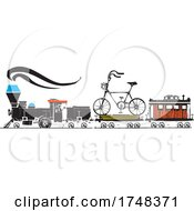 Poster, Art Print Of Woodcut Style Bicycle Locomotive