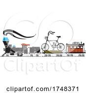 Woodcut Style Bicycle Locomotive
