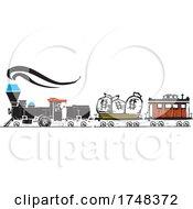 Woodcut Style Money Locomotive