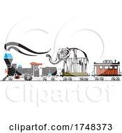 Woodcut Style Circus Locomotive