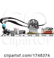 Woodcut Style Skull Locomotive