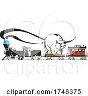 Woodcut Style Piggy Bank Locomotive