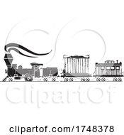Woodcut Style Circus Train